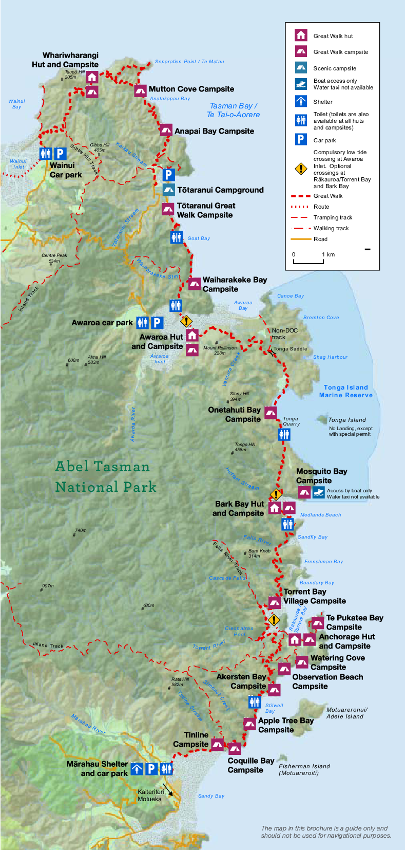 Abel Tasman Coast Track Map