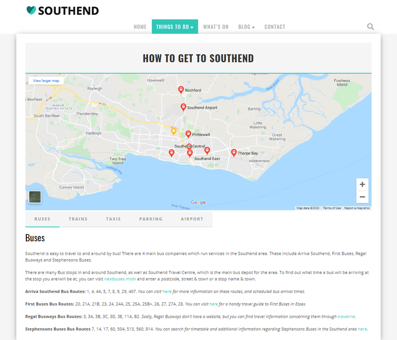 Love Southend travel page